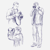 Photographer set - hand drawn vector illustration  Royalty Free Stock Images