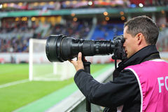 Photographer shoot the game Russian team against Northern Ireland Royalty Free Stock Photography