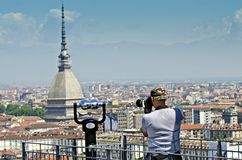 Turin viewpoint the Mola Antonelliana Royalty Free Stock Photos