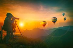 Photographer are shooting balloons. At sunrise Stock Photography