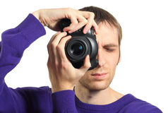 Photographer shooting by camera Royalty Free Stock Photo