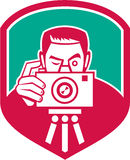 Photographer Shooting Camera Shield Retro Royalty Free Stock Photos