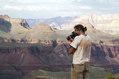 Photographer Shooting Grand Canyon Royalty Free Stock Photo