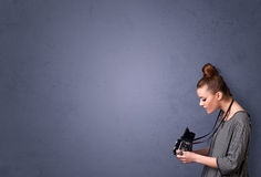 Photographer shooting images with copyspace area Stock Image
