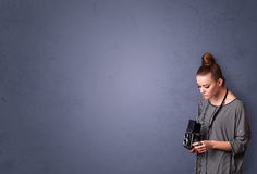 Photographer shooting images with copyspace area Stock Photography