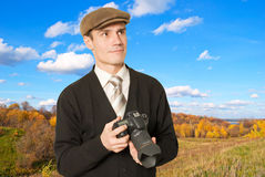 Photographer for shooting landscapes. Royalty Free Stock Image