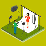Photographer Shooting Model in Studio. Flat isometric 3d style vector illustration Stock Images