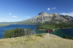 Photographer Shooting Mountain Lake Landscape. Woman Photographer on Hill Overlooking Waterton Lakes - Waterton Lakes National Park, Alberta, Canada Royalty Free Stock Image