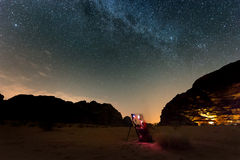 Photographer shooting stars. Man with tripod making photo on the night sky stock images