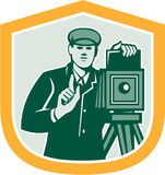 Photographer Shooting Vintage Camera Shield Retro Royalty Free Stock Photos
