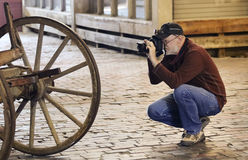 A Photographer Shoots the Fort Worth Stockyards. FORT WORTH, TEXAS, MARCH 15. The Fort Worth Stockyards on March 15, 2017, in Fort Worth, Texas. A Photographer stock photo
