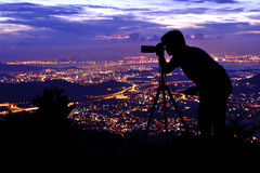 Photographer silhouette. At  Tai Mo Shan Royalty Free Stock Photos