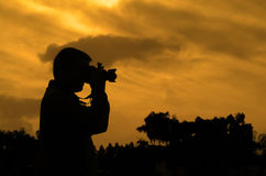 Photographer silhouette Royalty Free Stock Images