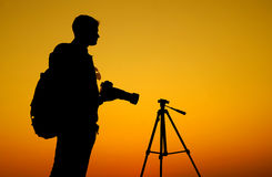 The Photographer' Silhouette with his tripod Royalty Free Stock Image