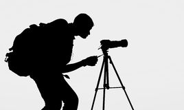 The Photographer' Silhouette with his tripod Royalty Free Stock Photography