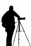 The Photographer' Silhouette with his tripod Stock Images