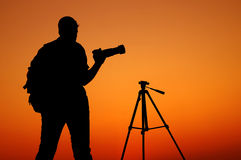 The Photographer' Silhouette with his tripod Royalty Free Stock Photo
