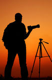 The Photographer' Silhouette with his tripod Royalty Free Stock Images