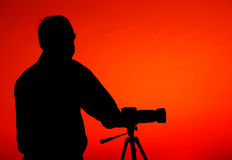 The Photographer' Silhouette with his tripod Royalty Free Stock Photos