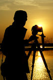 Photographer 2. This is silhouette images of photographer at thailand stock image