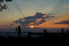 Photographer silhouetted Royalty Free Stock Photography