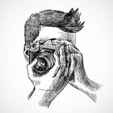 Photographer sketch portrait Royalty Free Stock Photography