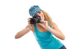 Photographer with SLR Stock Photo