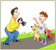 Photographer spealing with boy. Funny photographer speaking with boy on the road vector illustration