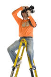 Photographer On The Stap-Ladder Royalty Free Stock Photo