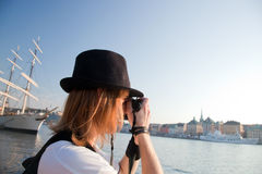 A photographer in Stockholm, Sweden Royalty Free Stock Image