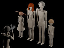 Photographer in studio while creating a family portrait. Scene at the photographer 3D rendering with wooden dolls Royalty Free Stock Images