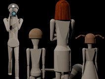 Photographer in studio while creating a family portrait. Scene at the photographer 3D rendering with wooden dolls Royalty Free Stock Photography