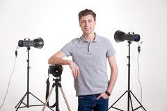 Photographer in studio. Stock Image