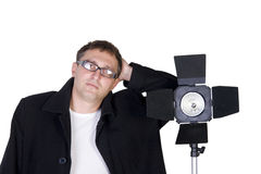 Photographer and a studio lamp Royalty Free Stock Photography