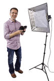 Photographer with Studio Lighting. Male photographer showing or demonstrating how to use a soft box studio light for photography on a white background stock image