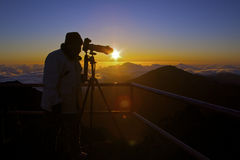 Photographer at Sunrise on Haleakala Royalty Free Stock Images