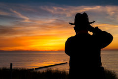 Photographer in sunset Stock Image