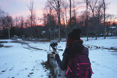 Photographer in the sunset Royalty Free Stock Image