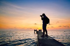 Photographer at the sunset Royalty Free Stock Photography