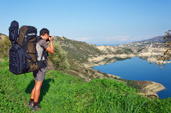 Photographer take photo outdoors by the lake Stock Photography