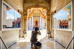 Photographer take a picture in marble temple Royalty Free Stock Photo