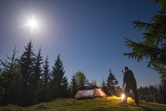 Photographer take a picture of night forest Royalty Free Stock Photos
