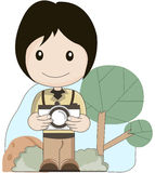 Photographer take a picture. With tree background cartoon Royalty Free Stock Image