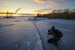Photographer take pictures on the ice near the shore at sunset Stock Photography