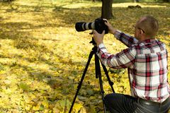 Photographer take shot in autumn park. Stock Image