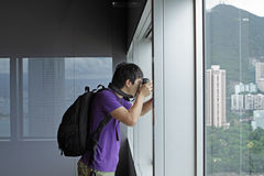 Photographer takes a photo of the landscape indoor Royalty Free Stock Photography