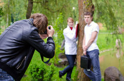 Photographer takes picture Stock Image
