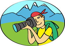 Photographer takes pictures in mountains stock illustration