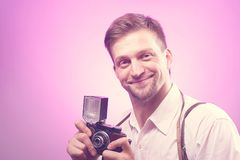 Photographer takes pictures Royalty Free Stock Image