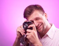 Photographer takes pictures Royalty Free Stock Images